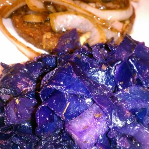 Five Spiced Cabbage and Hilary's Eat Well Adzuki Bean Burger